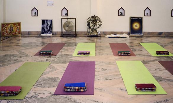 Yoga Class at Yoga Patanjali School in Rishikesh India